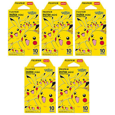 5 Packs 50 Photos Pokemon Pikachu FujiFilm Fuji Instax Mini Film Polaroid Liplay