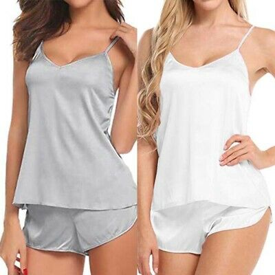 Shorts Solid Set Cami Sexy Lingerie Women Pajama Babydoll Sleepwear Casual Satin