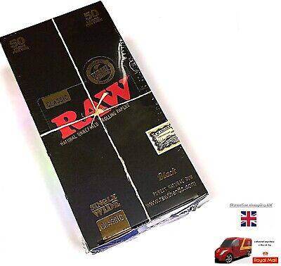 Raw Black Classic Natural Unrefined Single Wide Rolling Papers 50 packs per box