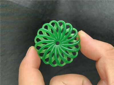 Chinese exquisite Ice Green jadite Jade Hand-carved hollow out Pendant