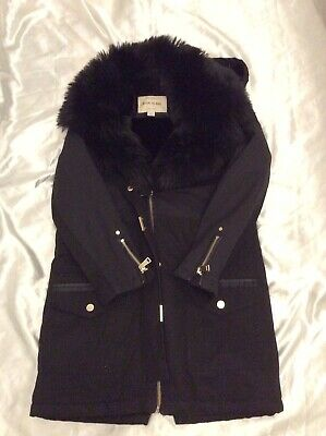 River Island Girls Black Hooded Parka Coat With Faux Fur Size 11 Yrs Uk