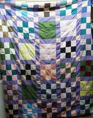 Handmade Unfinished QUILT TOP 9 Square pattern