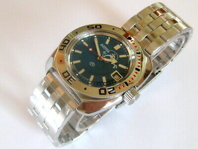 Vostok Amphibian Military Russian 710059/2416b Diver Watch New