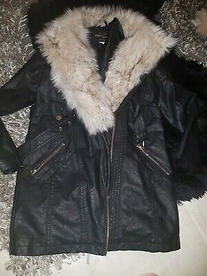 Girls Black Hooded  Coat With Faux Fur Size 11 Yrs Uk