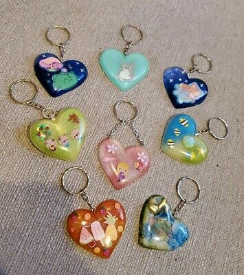SUPER CUTE RESIN HEART SHAPED KEYCHAINS ~ VALENTINE GIFT IDEAS ~ Choose 1