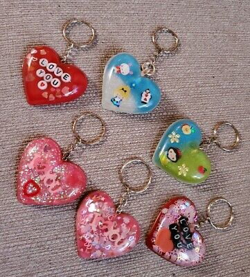 Resin Heart Shaped Keychains ~ Super Cute For Valentine's Day....choose 1