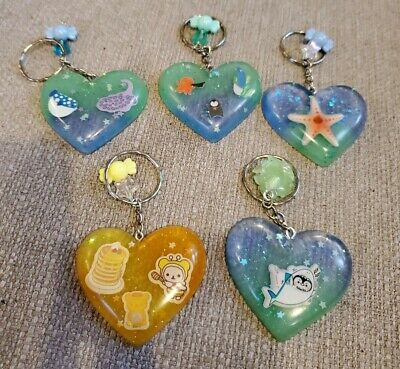 Super Cute Resin Heart Shaped Keychains W Extra Charm VALENTINE GIFTS Choose 1