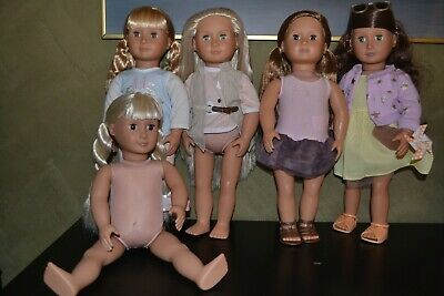 Large Lot Of 5 Our Generation Dolls All With Lovely Soft Hair Some With Clothes