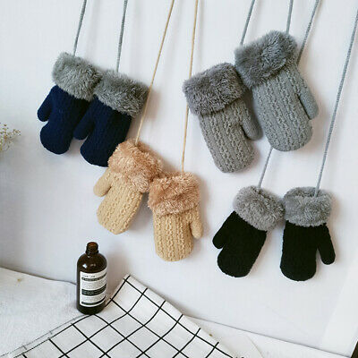 Solid Color Boys Children Girls Rope Kid's Gloves Mitten Knitted Gloves Mitts