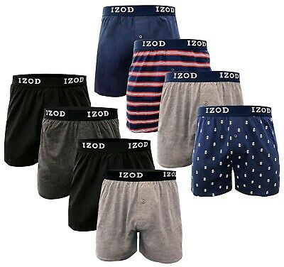 IZOD Knit Cotton Men's Boxer Shorts 4 Pack Button Fly Underwear Tag Free