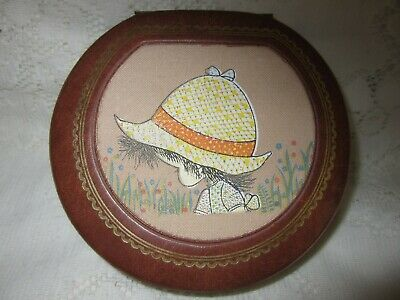 Something unusual VINTAGE HOLLY HOBBIE TRINKET BOX 'leather' and fabric LOVELY.