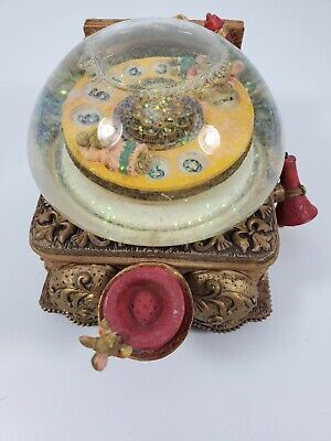 "Disney Mice Glitter Snow Globe Vintage Phone plays ""It's A Small World"""
