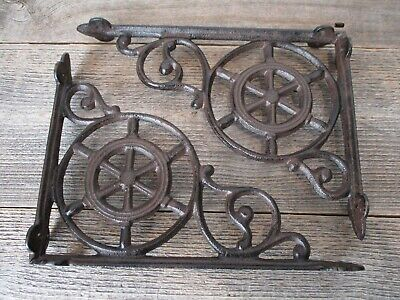2 Cast Iron Ship Wheel Nautical Braces Shelf Bracket RUSTIC Corbels Vintage Book