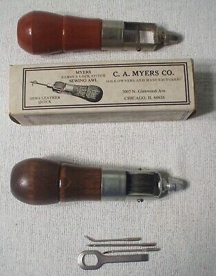 Pair Awls (2) C.a. Myers &Unbranded  Leather & More Sewing Tools Original Box