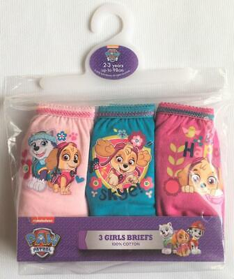 "New Girls Paw Patrol Girls 3 Pack Briefs - ""Be Happy"" - 100% Cotton 2-5 Years"