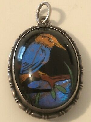 1920s Art Deco Sterling Silver KINGFISHER BIRD Butterfly Wing Pendant Pat 202213