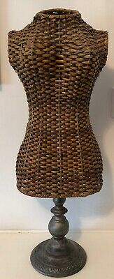 """Metal & Rattan Dress Form 24"""" Mannequin - Decorative Display Stand - Bust Body"""