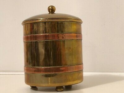 Vintage Brass & Copper Tea Caddy With Lid In A Arts & Craft Style
