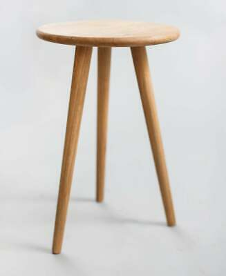 Oak stool on tapered legs - Round Bedside or Side Table - Scandi, Plant stand