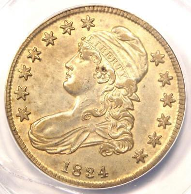 1834 Capped Bust Half Dollar 50C - ANACS AU50 Details - Rare Certified Coin!