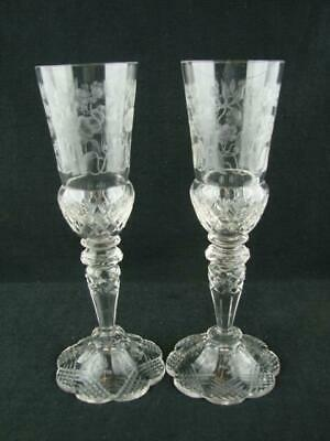 Pair - Victorian Champagne / Toasting Glasses Celebration Wedding Bride & Groom