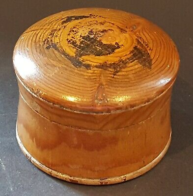 Carved wood vintage Victorian antique small round box A