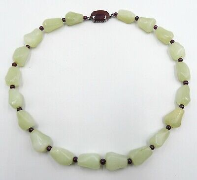 Antique vintage Chinese jade like pebble beads & sterling silver carnelian clasp