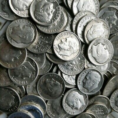 $1 Face-Value (10 dimes) 90% Silver Circulated Roosevelt Dimes 1946-1964