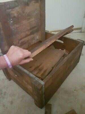 Large old heavy wooden solid timber shipping storage box + old wood pieces