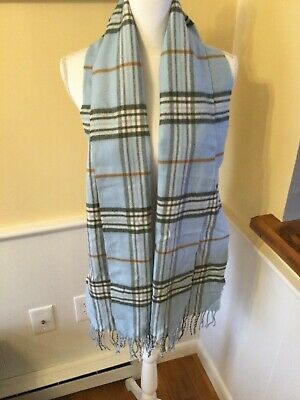 Lord & Taylor Scarf - Baby Blue - Plaid Burberry Pattern