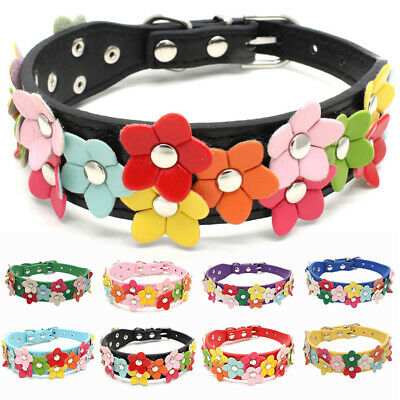 Adjustable  Pet Puppy Dog Cat Collar Necklace PU Leather Flowers Neck Strap