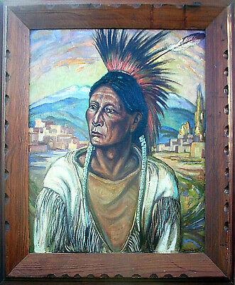 "30% OFF Taos New Mexico Oil BEN TURNER Taos Chief at the Pueblo 24""x20"""