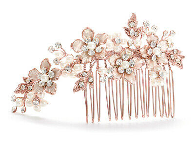 Mariell Handmade Rose Gold, Crystal & Ivory Pearl Jeweled Wedding Hair Comb