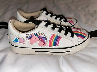 Zara Kids Girls Patch Sneakers White sz 13.5 /31 EU Unicorn Rainbow Stars Shoes