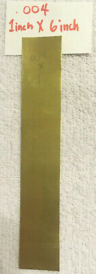 """Brass Shim Stock .004 Thick 6"""" Wide 1"""" long .004 .0003 Thkns (6""""x1"""") one piece"""