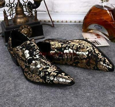 2020Mens Shoes oxford Floral Cuban Heel Lace Up Pointed Toe Dress Wedding Casual