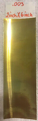 """Brass Shim Stock .003 In. / .076 mm Thick 6"""" X 2"""" Sheet Flat Stock"""