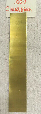 """Brass Shim Stock .007 In. / .18 mm Thick 6"""" X 1"""" Sheet Flat Stock"""