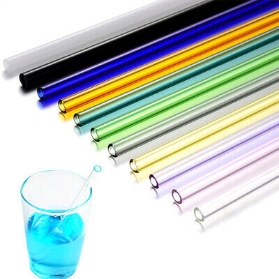Reusable Straight Drinking Straw Pyrex Glass Pure Color New Simple Birthday 1pc