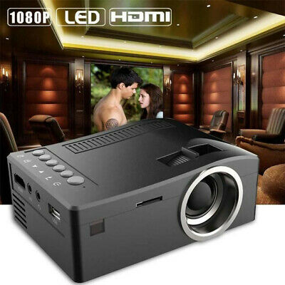 1080P HD LED Mulit-Media Black Theater Cinema CAB VGA SD HDMI Mini Projector CA