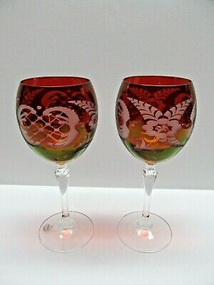 VTG Colony Ruby Red Cut to Clear Crystal Wine Glasses Czechoslovakia Bohemian