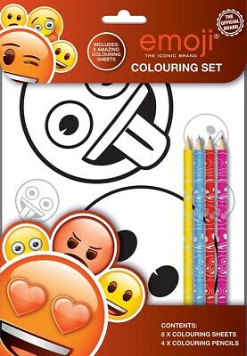 Emoji Colouring Set Kids Activity Pack Gift Party Bag Filler Children Rainy Day