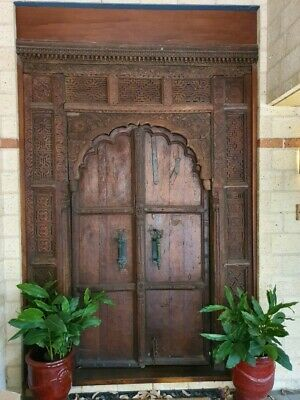 Impressive antique style Rajasthan Indian residence double entry front door