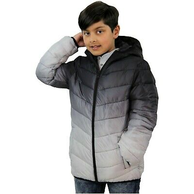 Kids Boys Hooded Jacket Black 3D Two Tone Faded Gradient Print Warm Thick Coats