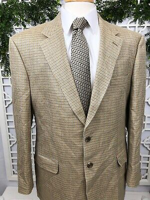 Ralph Lauren ALL SILK Mens 44R Beige Gray Houndstooth Sport Coat 2 Button Blazer