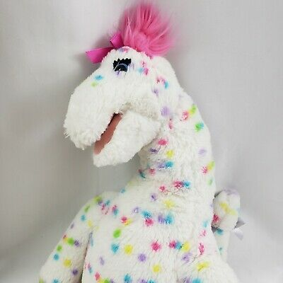 Build a Bear Polka Dot Dinosaur White Pink BAB Plush BABW Stuffed Animal 20""