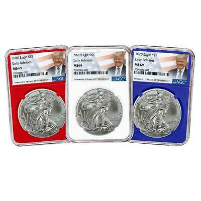 2020 $1 American Silver Eagle 3pc. Set NGC MS69 ER Trump Label Red White Blue