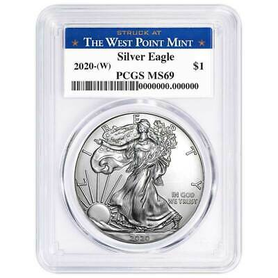 2020 (W) $1 American Silver Eagle PCGS MS69 West Point Label