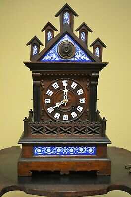 ANTIQUE BLACK FOREST Alexander Fleig CATHEDRAL SHELF/MANTEL CUCKOO CLOCK 1800'S