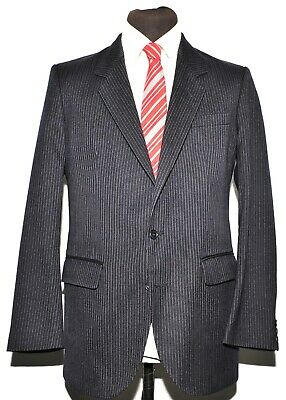 Great Vintage Dunn And Co Navy Wool Pinstripe Suit Size 38 R 32 W